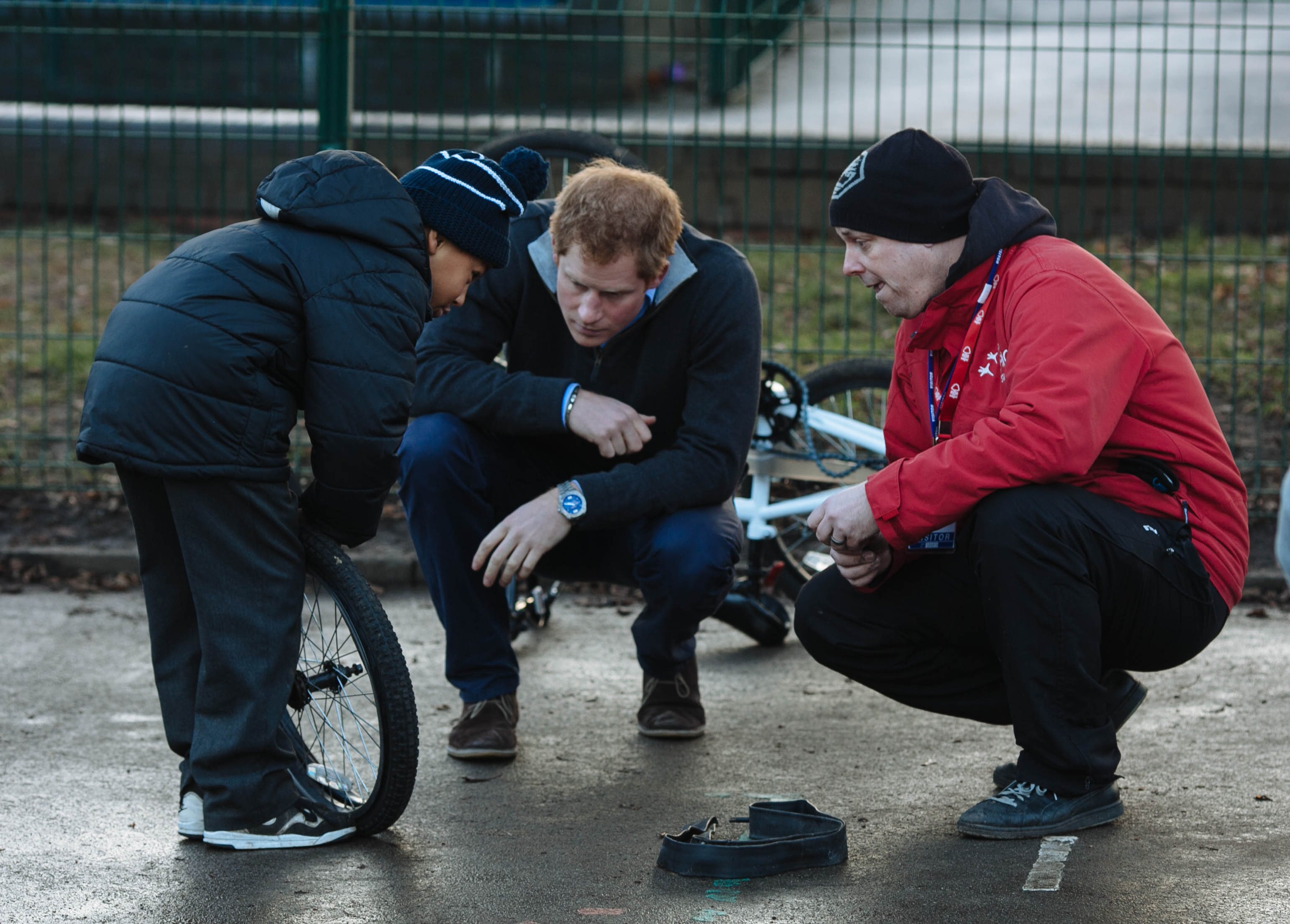 Prince Harry bicycle repair